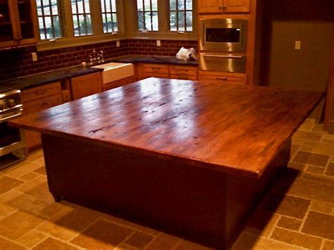 Island Countertop in Antique Hickory and Oak   Traditional