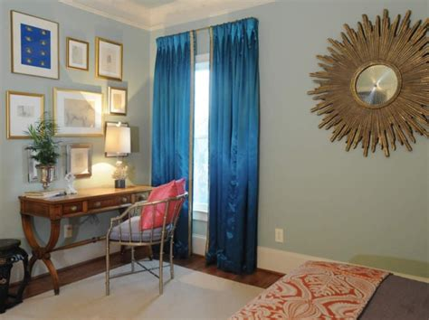 turquoise drapes transitional bedroom blount design