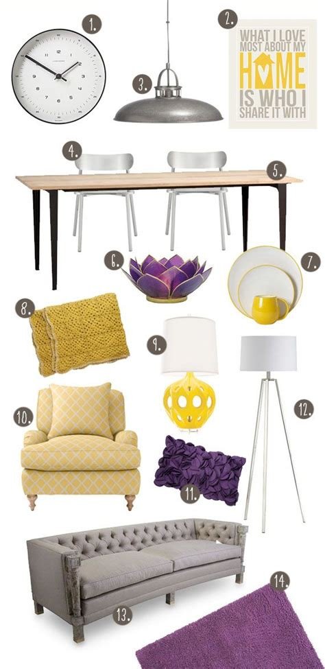 Yellow Grey And Purple Living Room by Yellow And Purple Living Dining Room Theme For The Home