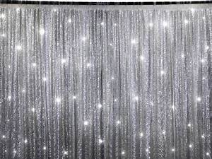 Black Light Stage Props Silver Sequins Backdrop 20 X 10 Ft Stage Party Wedding