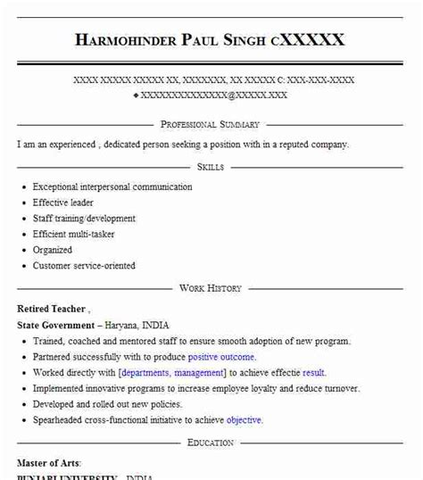 retired teacher resume sample teacher resumes livecareer