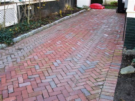 reclaimed herringbone path with soldier edge