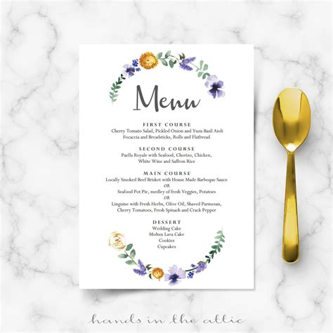 purple floral wedding buffet menu template wedding menu
