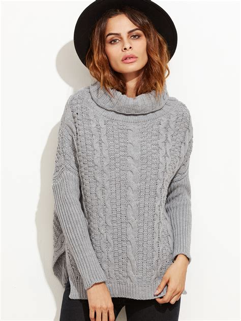 high low sweater grey cable knit turtleneck high low sweater shein sheinside