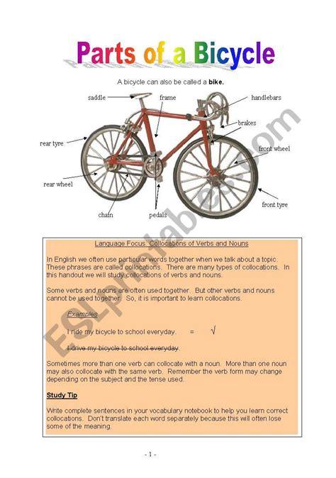 parts   bicycle esl worksheet  riley