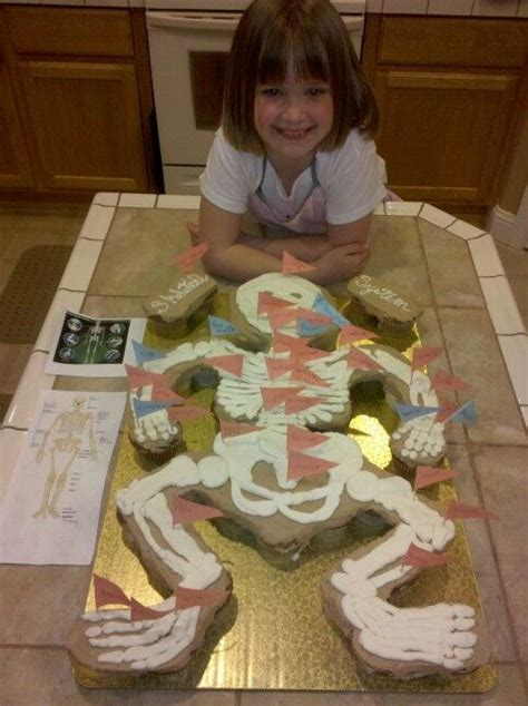 school skeleton cupcake project with all bones labeled by 305 | e855ae057bc3b6db531e2ed3c1d64db9