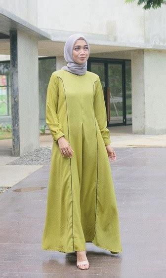 gamis hijau army cocok  jilbab warna  gambar islami