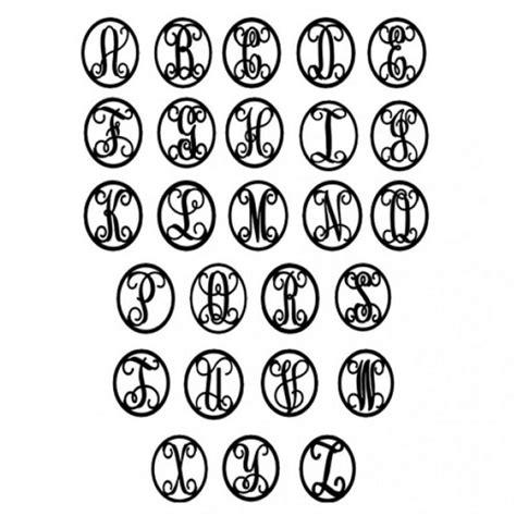 single initial metal door monogram  oval frame