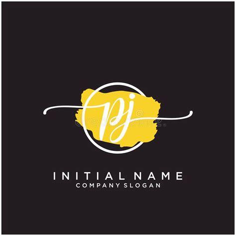 pj initial handwriting logo design  brush circle stock vector illustration  abstract