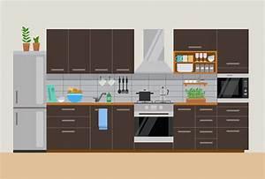modern cozy kitchen interior in brown flat style