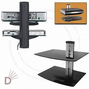 Glass TV LCD LED Wall Mount Bracket 2 Shelves Shelf For ...