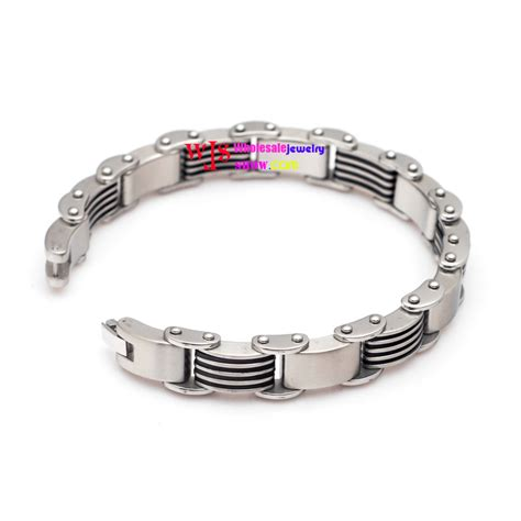 heavy stainless steel mens bracelet bangle silver black