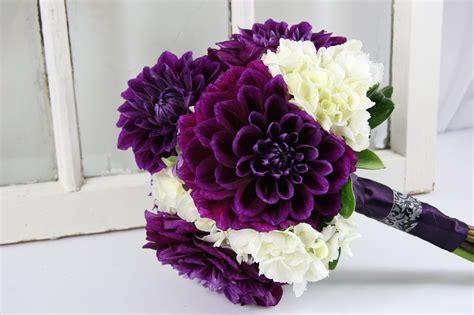 Dahlia Purple Hydgrangea Wedding Bouquet