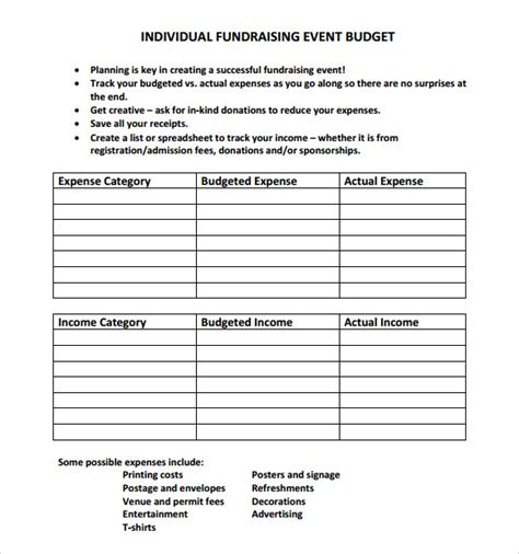event budget samples  google docs google sheets