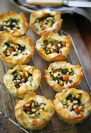 canape pumpkin filo tartlets with spinach pumpkin feta pine nuts i