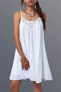 Summer Dresses | White Spaghetti Strap Lace Splicing Dress ...