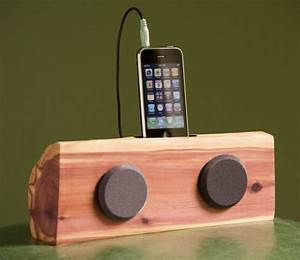 Handmade Wooden Iphone  Ipod Docking Station With Speakers