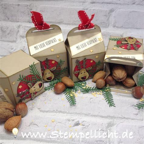 selbstgemachte geschenke weihnachten weihnachtliche leckereien box mit rentier aus dem stin