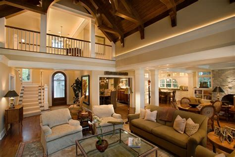 pretty  story living room traditional  vaulted ceiling cased opening