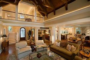 Pretty 2 Story Living Room Traditional With Vaulted Ceiling Cased Opening