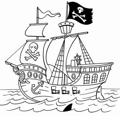 Pirate Ship Drawing Line Ships Easy Colouring