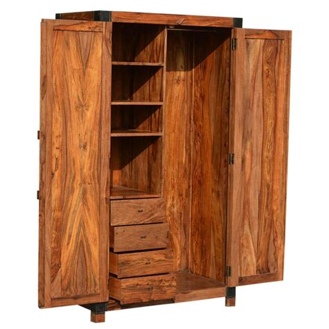 Wood Wardrobe With Drawers by Princeton Solid Wood Bedroom Armoire Wardrobe With Shelves