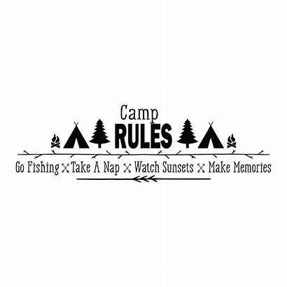 Wall Camp Quotes Rules Decal Memories Fishing