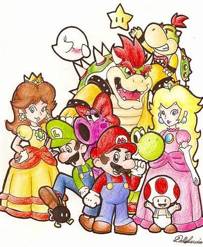 Mario Characters Banner Rainbow