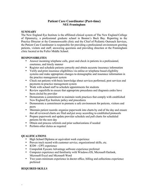 2016 patient care coordinator resume sle