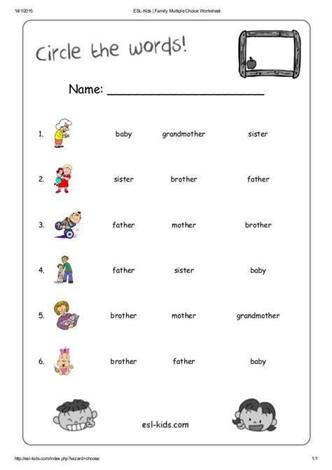 eslkids family multiple choice worksheet http