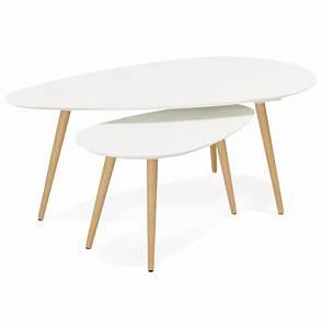 Table Basse Scandinave Blanche : table basse gigogne blanche scandinave rebro ~ Teatrodelosmanantiales.com Idées de Décoration