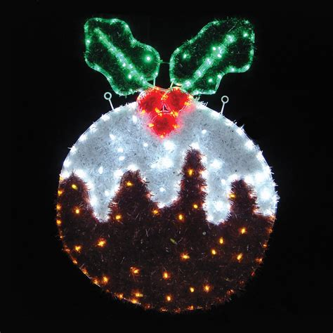tinsel christmas pudding rope light flashing leds indoor