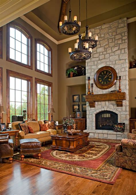 wonderful  story family room  stone fireplace