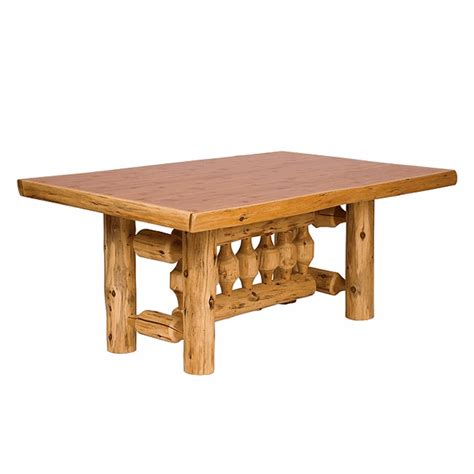 standard 8 foot table cedar log standard finish rectangle dining table 8 foot