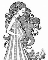 Coloring Pregnant Pregnancy Zentangle Motherhood Doodle Kleurplaat Mother Zwangere Vrouw Mandala Adult Drawing Drawings Decorative Expectation Sweet Doodles Sketch Template sketch template
