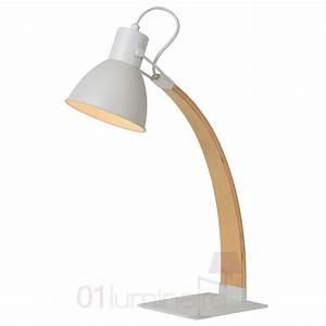 Lampe Bureau Bois : lampe de bureau curf bois blanc e27 e14 03613 01 31 lucide ~ Teatrodelosmanantiales.com Idées de Décoration