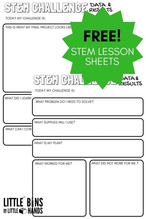 stem challenge worksheets free printable bins for