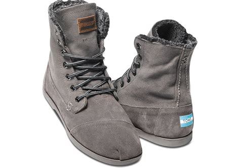 Toms Ash Canvas Suede Utility Boot In Gray For Men
