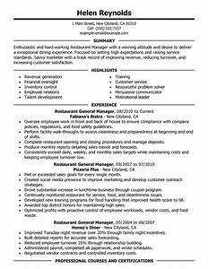 Best Restaurant Manager Resume Example