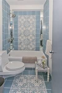 Beautiful minimalist blue tile pattern bathroom decor also
