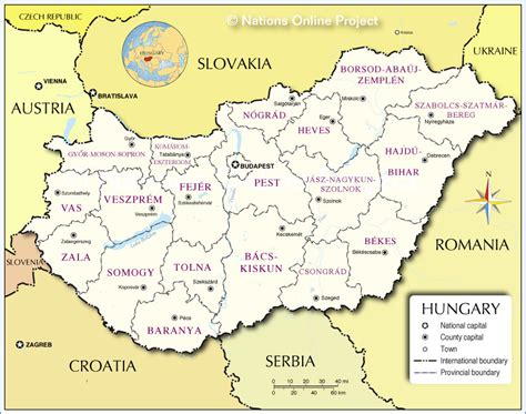 administrative map  hungary nations  project