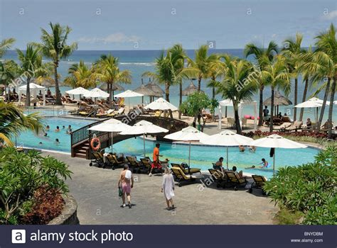 le meridien ile maurice island of mauritius swimming pool five stock photo royalty free