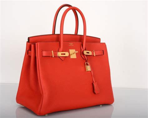 New Red Hermes Birkin Bag 35cm Geranium Gold Hardware At