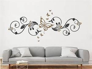 Wandtattoo Ornament Mit Schmetterlingen Wandtattoosde