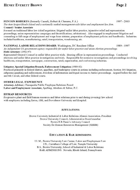 Labor Relations Resume Cover Letter by Resume Sle 7 Attorney Resume Labor Relations