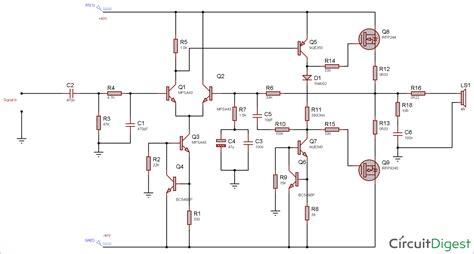 Watt Power Amplifier Circuit Diagram Using Mosfet