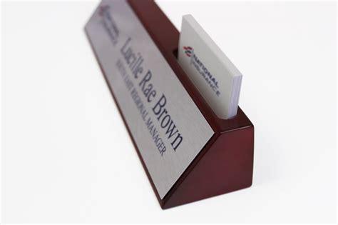 desk name plate with card holder business card holder desk sign solid wood desk signs
