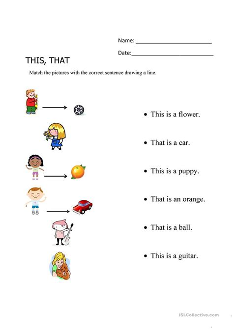 This, That Matching Exercise Worksheet  Free Esl Printable Worksheets Made By Teachers