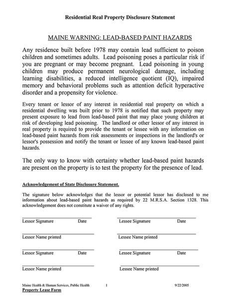 nyc lead paint disclosure form maine residential rental property lead disclosure statement