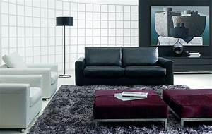 modern living room design with black sofa arch lamp white With living room design black sofa